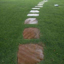 Flagstone in zoysia path